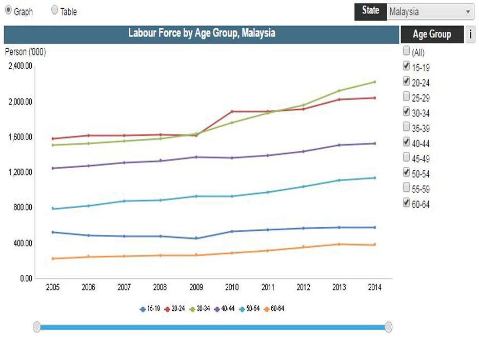 Labour Force by Age Group and State